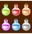 Round cartoon bottles liquids vector image