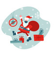 santa in face mask with big red sack flat vector image vector image