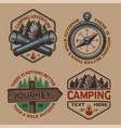 set color logos for camping theme on white vector image