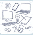 set of hand drawn icons computer technology vector image vector image