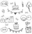 Set party birthday doodle vector image