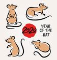 set with hand drawn rats symbol zodiac sign vector image vector image