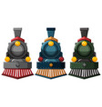 steam engine designs in three colors vector image vector image