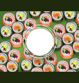 sushi banner with rolls pattern on green vector image vector image
