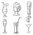 various drink hand draw doodles vector image vector image
