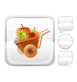 Wheelbarrow icon on silver button vector image