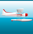 white seaplane hydroplane in the sky over the sea vector image