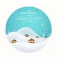 Winder snow houses landscape blue sky cutout card vector image vector image
