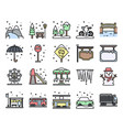 winter city related filled icon set vector image