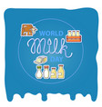 world milk day card with handwritten lettering and vector image