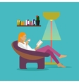 Young woman at home sitting on modern chair vector image vector image