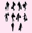 Shopping Woman Silhouette vector image