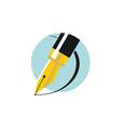 an ink pen Flat colors logo vector image