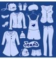 jeans clothes set vector image