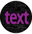 text concept black backgroung in word tag cloud vector image