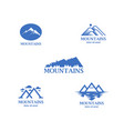abstract and minimalistic blue mountains logo set vector image vector image