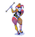 bright colorful joker with staff in old engraving vector image