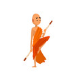 buddhist monk cartoon character training with vector image