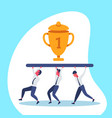 business people team carry golden trophy cup first vector image vector image