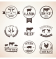 butcher retro emblems and labels set design vector image vector image