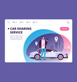 car sharing concept businessman with smartphone vector image vector image