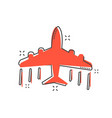 cartoon airplane icon in comic style plane vector image