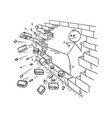 cartoon of businessman kung fu kicking the brick vector image vector image