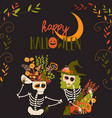 cartoon skeletons with flowers happy crazy vector image
