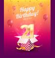 celebrating 21 st years birthday vector image vector image