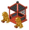 Chinese-style pavilion and statues of Golden lion vector image
