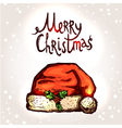 Christmas Card With Hand Drawn Santa Hat vector image vector image