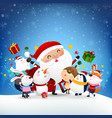 christmas snowman santa claus and animal cartoon vector image vector image