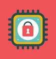 cpu icon with lock sign cyber security vector image vector image
