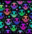 cute cartoon bright cat skull seamless vector image vector image