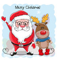 cute christmas deer and santa vector image