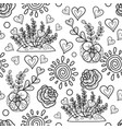 decorative flowerbed sun hearts and simple vector image vector image