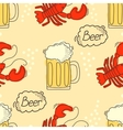 Doodle pattern with beer and crawfish vector image vector image