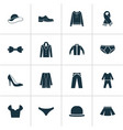 dress icons set with male footwear jacket scarf vector image