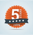 five stars rating sign in flat style vector image vector image