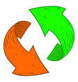 green and orange recycle arrows hand drawn sketch vector image vector image