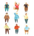 handsome overweight men set fat guys in vector image