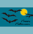 happy halloween card with scary flying vampire vector image vector image