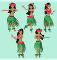 hawaiian cartoon girls dancing hula image vector image