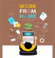 man work from home desk top view poster design vector image