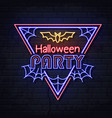 neon sign halloween party with bat and spider web vector image