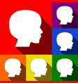 people head sign set of icons with flat vector image