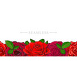 Red roses border seamless pattern with romantic