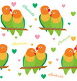 seamless pattern with lovebirds vector image vector image