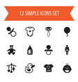 set of 12 editable kid icons includes symbols vector image