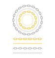 set of chain of gold silver and steel color vector image